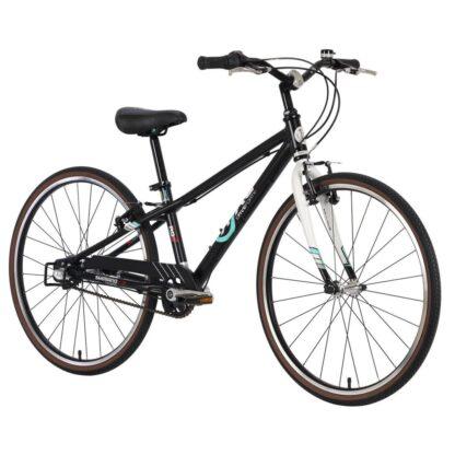 byk e-540 boys bike matte black white front
